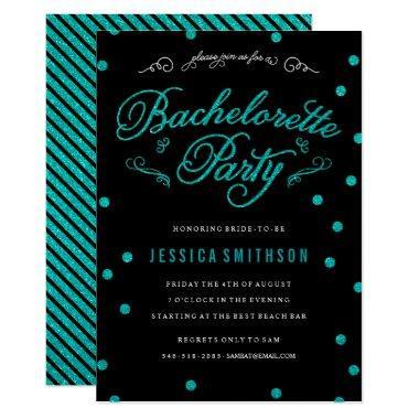 Turquoise Glitz & Glitter Black Bachelorette Party