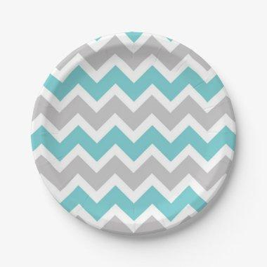 turquoise gray chevron baby shower bridal party paper plate