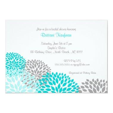 Turquoise & Grey Dahlia Bridal Baby Shower Invite