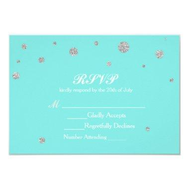 Turquoise & Silver Glitter Confetti RSVP Card