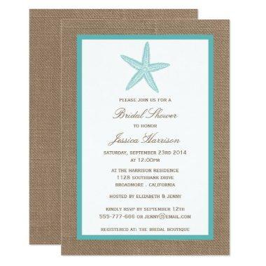 Turquoise Starfish Beach Burlap Bridal Shower Invitations
