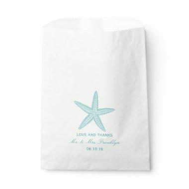 Turquoise Starfish Beach Wedding Favor Bag