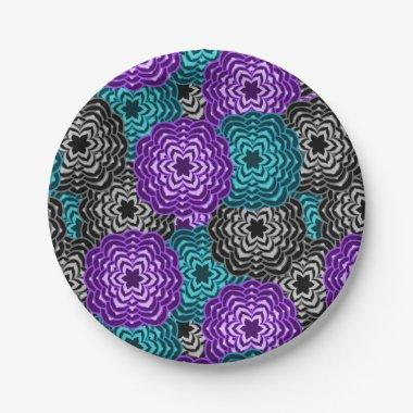 Turquoise Teal Blue Lavender Purple Grey Dahlia Paper Plate