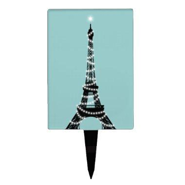 Turquoise Twinkling Eiffel Tower Cake Pick