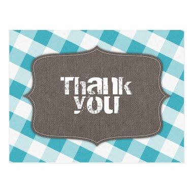 Turquoise White Gingham Canvas Thank You Post