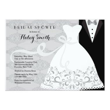 Tux and Gown Bridal Shower Invitations