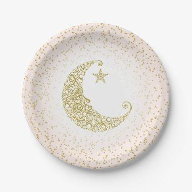 Twinkle Little Star Gold Moon Pink Paper Plate