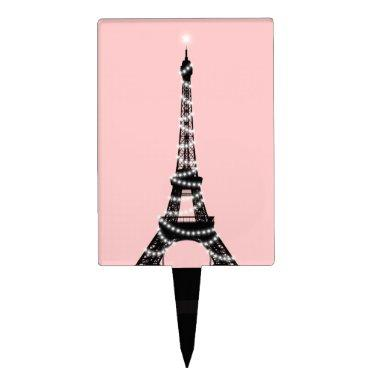Twinkling Eiffel Tower Cake Pick - Pink