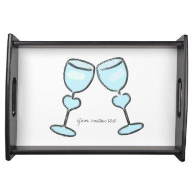 Two Heart Wine Glasses  Engagement Serving Tray