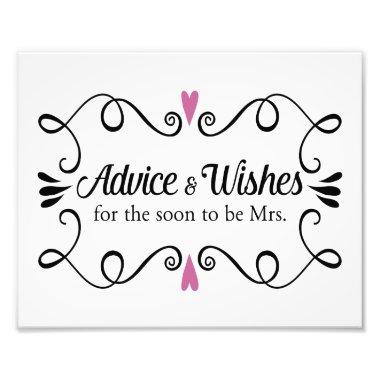 Two Hearts Advice and Wishes Bridal Shower Sign Photo Print