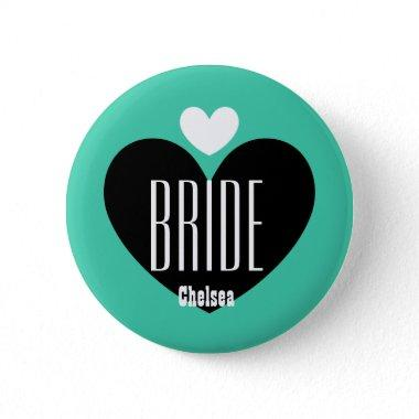 Two Hearts Bride Modern Wedding V09 TEAL Button