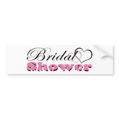 Two Hearts Pink w/ Zebra Bridal Shower Party Bumper Sticker