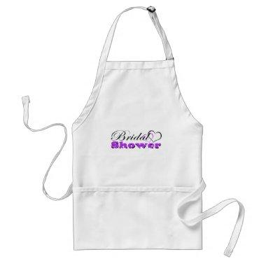 Two Hearts Purple w/ Zebra Bridal Shower Party Adult Apron