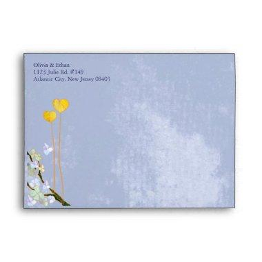 Two Hearts Rustic Blue Wedding Envelope