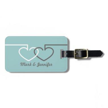 Two Interlocking Hearts Luggage Tag