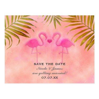 Two Pink Flamingos Watercolor Save The Date