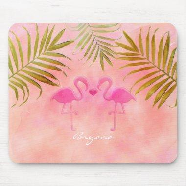 Two Pink Flamingos Watercolor Tropical Mouse Pad