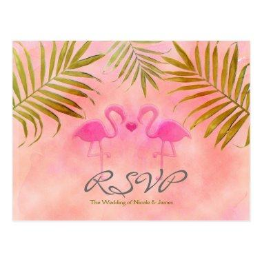 Two Pink Flamingos Watercolor Wedding RSVP cards