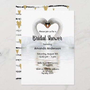 Two swans in love white bridal shower Invitations