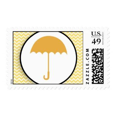 Umbrella & Yellow Chevron Baby/ Stamp