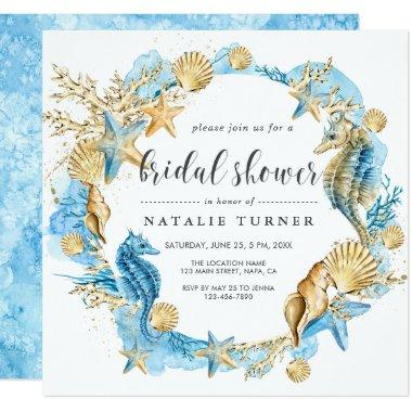 Under the Sea Blue & Gold Bridal Shower Invitations
