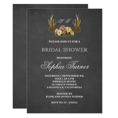 Unique Antlers Floral Chalkboard Bridal Shower Invitations