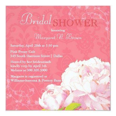 Unique Peony Theme Coral Pink Bridal Shower Invitations