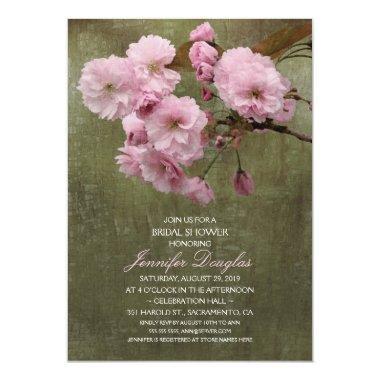 unique rustic cherry blossom bridal shower invitations