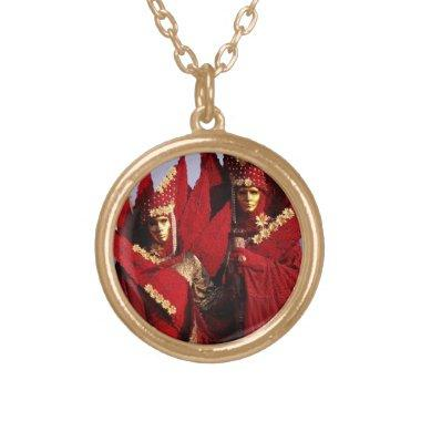 Venetian Couple With Red Carnival Costumes Gold Finish Necklace