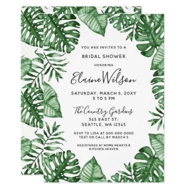 Verdure Tropical Greenery Bridal Shower Invitations