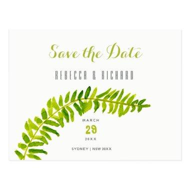 VIBRANT GREEN WATERCOLOUR FERN Save the date Post