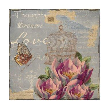 Victorian Love Thoughts Dreams Butterfly Bird Cage Wood Print