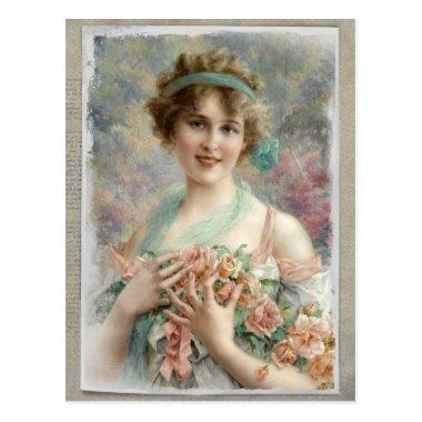 Victorian Woman w/ Roses on Watercolor PostInvitations