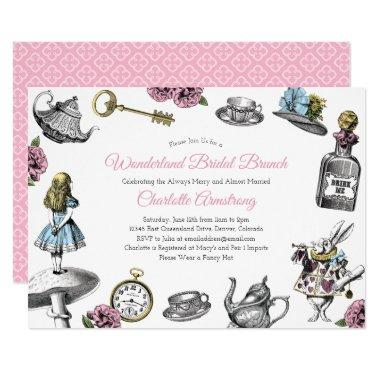 Vintage Alice in Wonderland Bridal Brunch Invitations