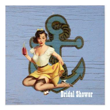 vintage anchor pin up girl beach