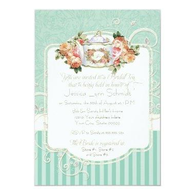 Vintage Antique Roses Floral Bouquet Modern Swirls Invitations