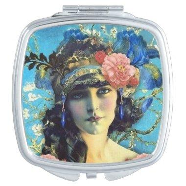 Vintage Art Nouveau Mirror Girl