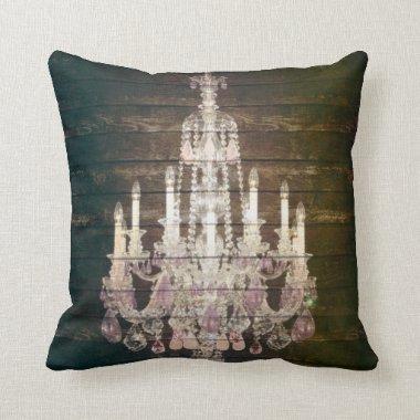 Vintage Barn Wood Chandelier Wedding Throw Pillow