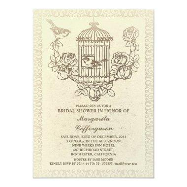 vintage bird cage bridal shower invitations