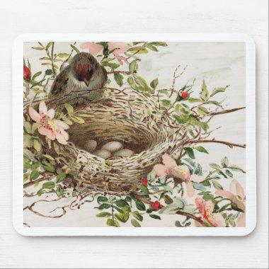 Vintage Bird in Nest Animal Print Mouse Pad