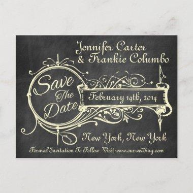 Vintage Black Chalkboard Save The Date Announcement PostInvitations