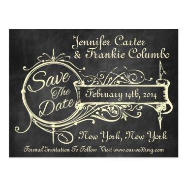 Vintage Black Chalkboard Save The Date Post