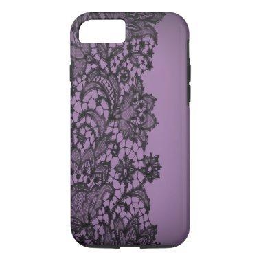 Vintage blackLace purple Paris fashion iPhone5case iPhone 7 Case