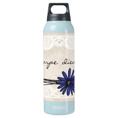 Vintage Blue Daisy Insulated Water Bottle