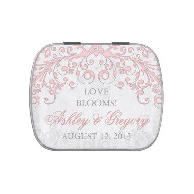 Vintage Blush Pink Grey Floral Wedding Candy Tin