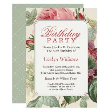 Vintage Botanical Floral Adult Birthday Party