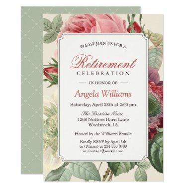 Vintage Botanical Floral Elegant Retirement Party