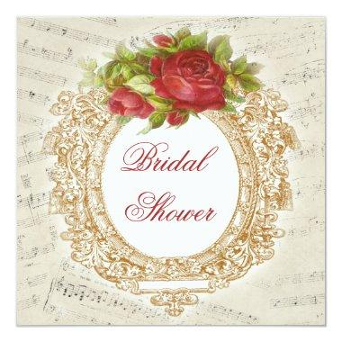 Vintage Bridal Shower Red Rose Frame Music Sheet Invitations
