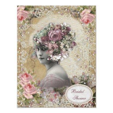 Vintage Bride with Jewels & Flowers