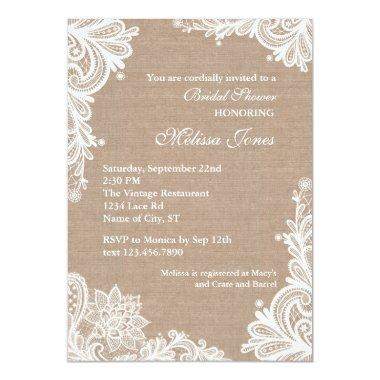 Vintage Burlap and Lace Bridal Shower Invitations